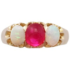 1890s Antique Ruby and Opal Yellow Gold Trilogy Ring