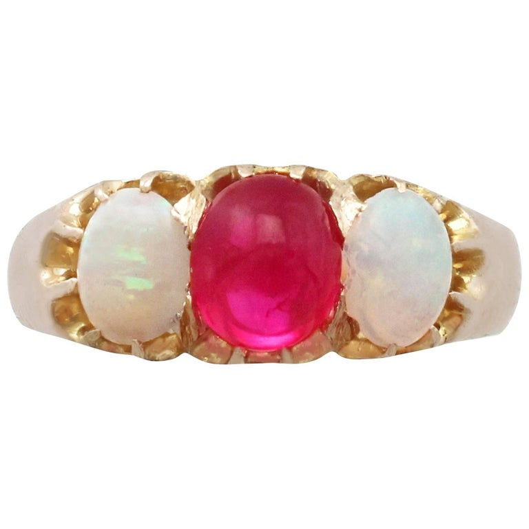 1890s Antique Ruby and Opal Yellow Gold Trilogy Ring For Sale