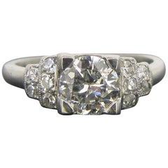 French Art Deco 1ct Diamond Platinum Engagement Band Ring