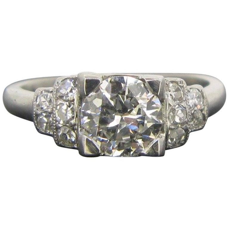 French Art Deco 1ct Diamond Platinum Engagement Band Ring