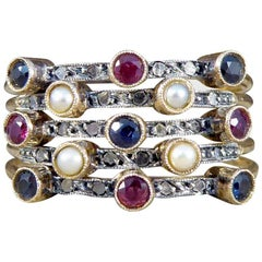 Vintage Ruby, Diamond, Pearl and Sapphire Harem 14 Carat Gold Ring