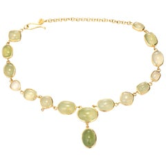 Irene Neuwirth Chrysoprase Bezel Set Diamond Gold Drop Necklace