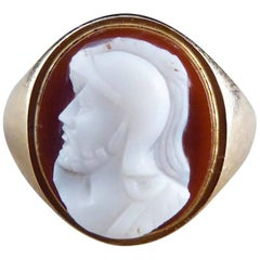 Antique Victorian 9 Carat Gold Hardstone Cameo Ring Depicting Male Head