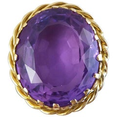 Antique Late Victorian Amethyst Solitaire Ring in 18 Carat Gold
