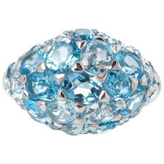 Blue Topaz Cluster Dome Ring 7.13 Carat Set in 18 Karat White Gold