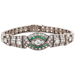 Platinum Art Deco Bracelet with Diamonds and Emeralds