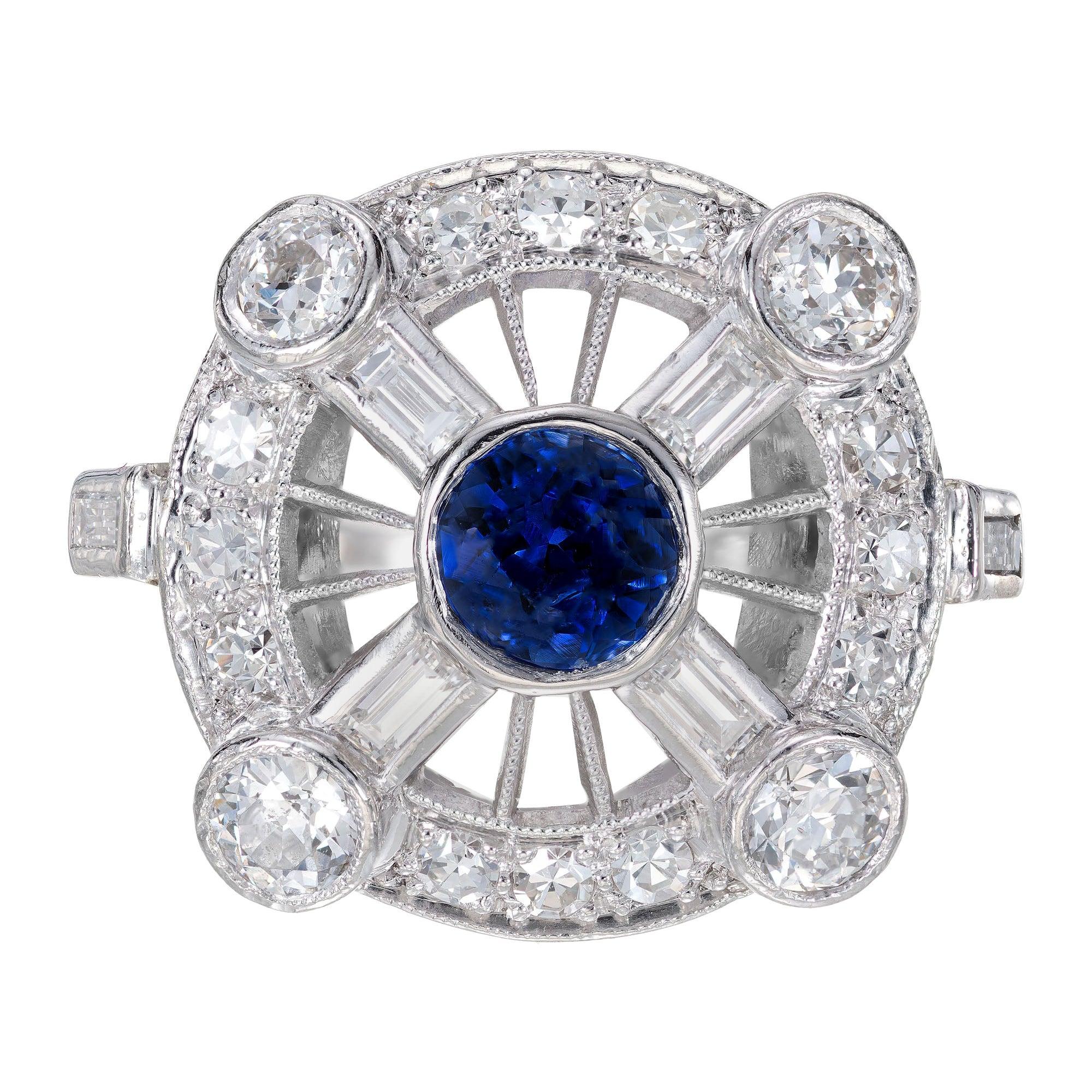 GIA Certified .50 Carat Sapphire Diamond Halo Midcentury Platinum Ring