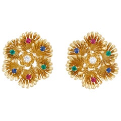 Boucheron 1970s Ruby, Emerald, Sapphire and Diamond Hexafoil Earclips