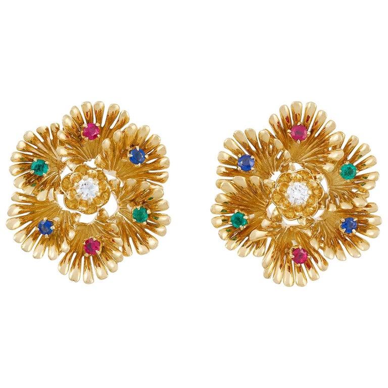 Boucheron 1970s Ruby, Emerald, Sapphire and Diamond Hexafoil Earclips