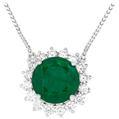 7.05 Carat Round Cut Emerald and 1.50 Carat White Diamond Pendant