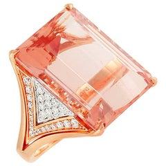 Frederic Sage 25.96 Carat Morganite Diamond Rose and White Gold Ring