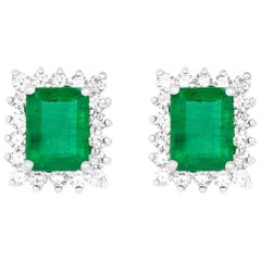 3.33 Carat Emerald Cut Emerald and 0.78 Carat White Diamond Stud Earring