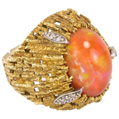 1972 Andrew Grima, Fire Opal, Diamond and Textured Gold Wire Work Ring
