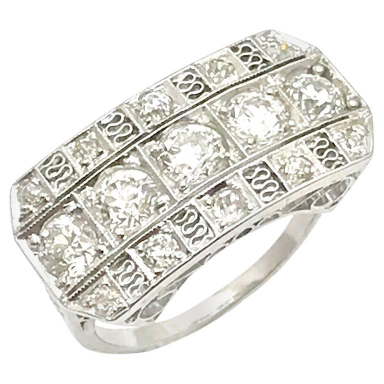 Art Deco Old European Cut Diamond Three-Row Platinum Ring