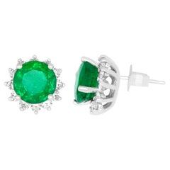 2.32 Carat Round Emerald & 0.98 Carat White Diamond Stud Earring