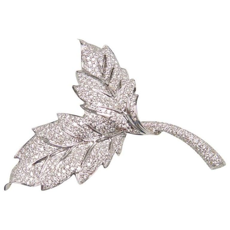 Two Leaf Diamond Brooch