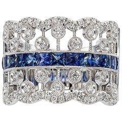 French Cut Sapphire and Diamond Ring