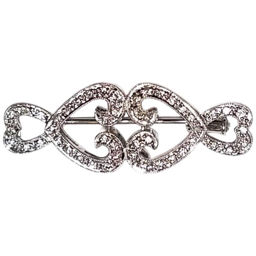 Deco Inspired Horizontal Diamond Brooch