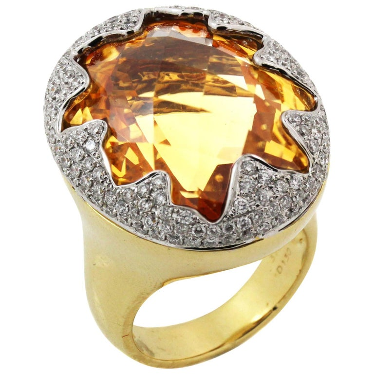 Imperial Citrine Gold and Diamond Ring For Sale