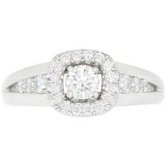 0.63 Carat White Diamond Halo Engagement Ring