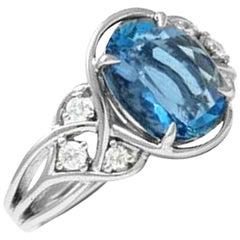 Frederic Sage 2.83 Carat Aquamarine and Diamond Ring