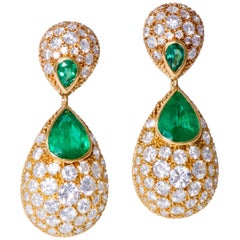 1978 Charles de Temple, London, Diamond, Emerald and Gold Day or Night Earrings