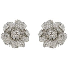 10.50 Carat Diamond Floral Clip Earrings