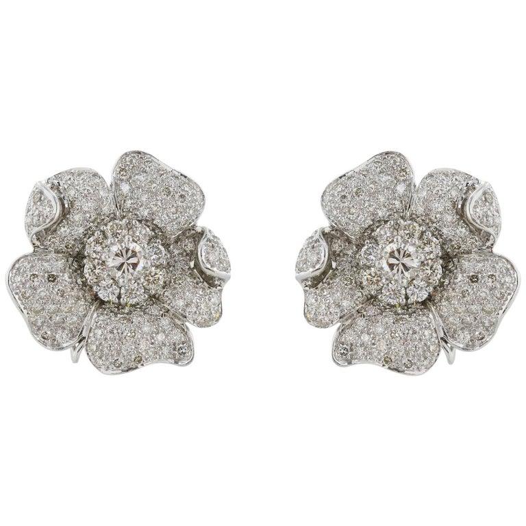 10.50 Carat Diamond Floral Clip Earrings