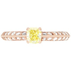 0.51 Carat Cushion Cut Yellow Diamond and 0.37 Carat White Diamond Ring