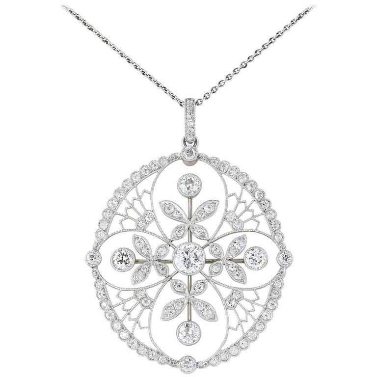 Platinum Diamond Edwardian Pendant Necklace