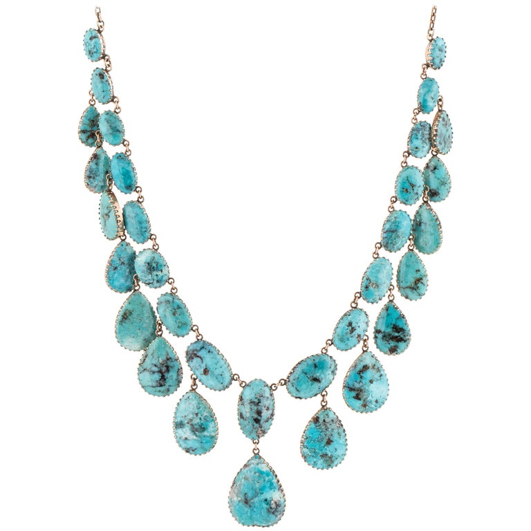 14 Karat Rose Gold Turquoise Necklace