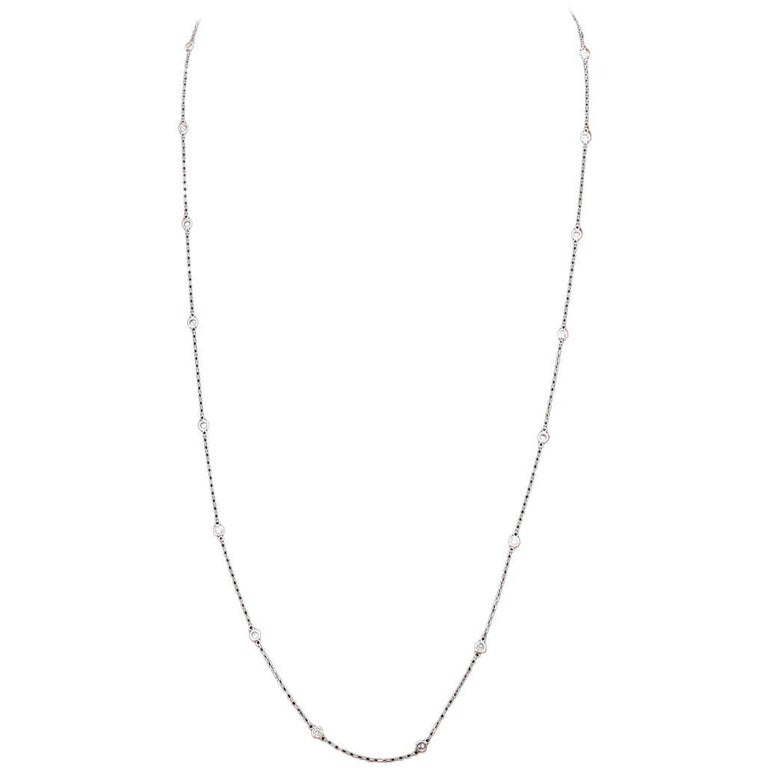 14 Karat White Gold Diamond by the Yard Necklace