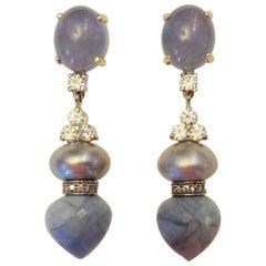 Michael Kneebone Blue Chalcedony Diamond Gray Pearl Blue Opal Dangle Earrings