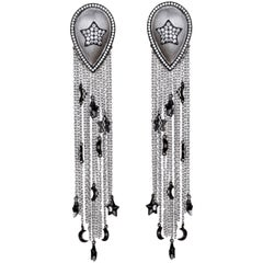 Stars and Moons Charms on Tassels Earrings Sterling Silver plated Rhodium