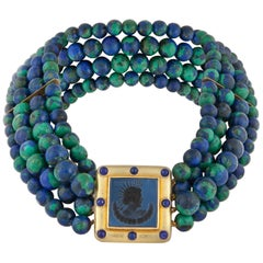 Elizabeth Locke Azurmalachite Bead Necklace