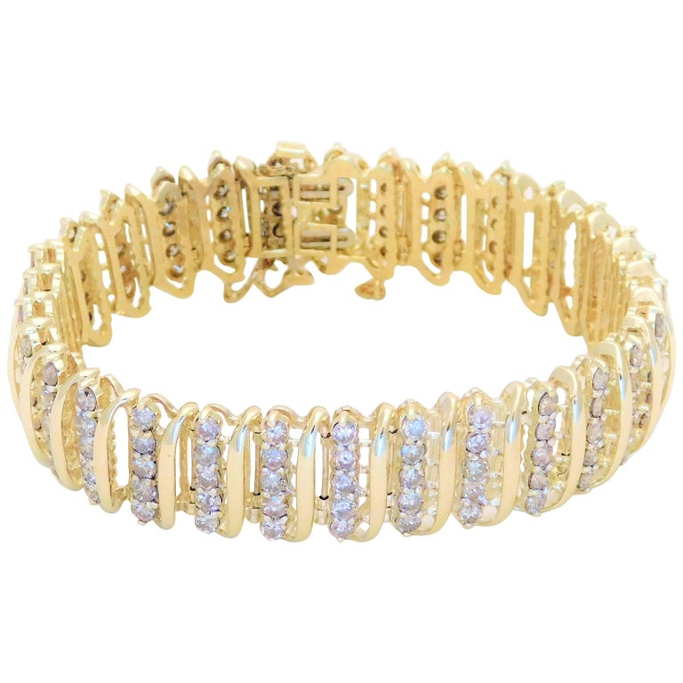 Vintage 9 Carat Champagne Colored Diamond Bracelet