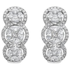 Emilio Jewelry Special 3.21 Carat Fancy Cut Diamond Huggie Earrings