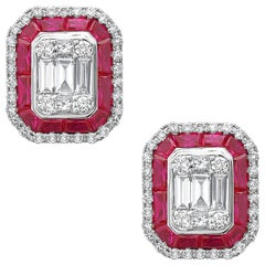 Emilio Jewelry 3.45 Carat Unique Ruby Diamond Stud Earrings