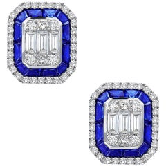 Emilio Jewelry 3.30 Carat Sapphire Diamond Stud Earrings