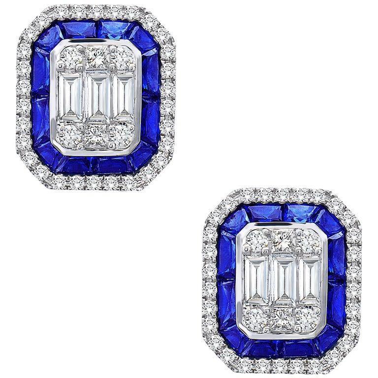 Emilio Jewelry 3.30 Carat Sapphire Diamond Stud Earrings