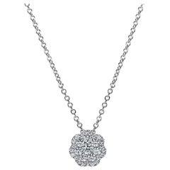 Mark Broumand 0.25 Carat Flower Cluster Diamond Pendant in 14 Karat White Gold