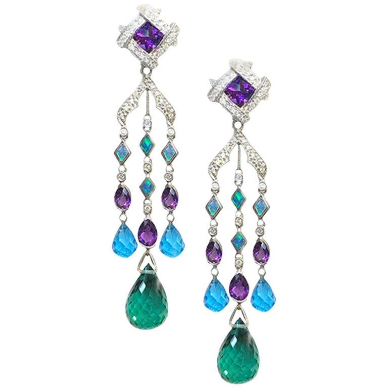 Long Amethyst, Opal, Blue Topaz and Diamond Dangle Earrings