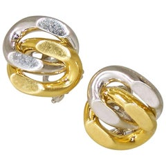 18 Karat Yellow and White Gold Earrings