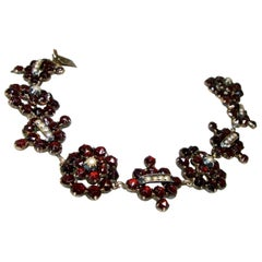 Victorian Garnet and Natural Pearl Bracelet, circa 1865
