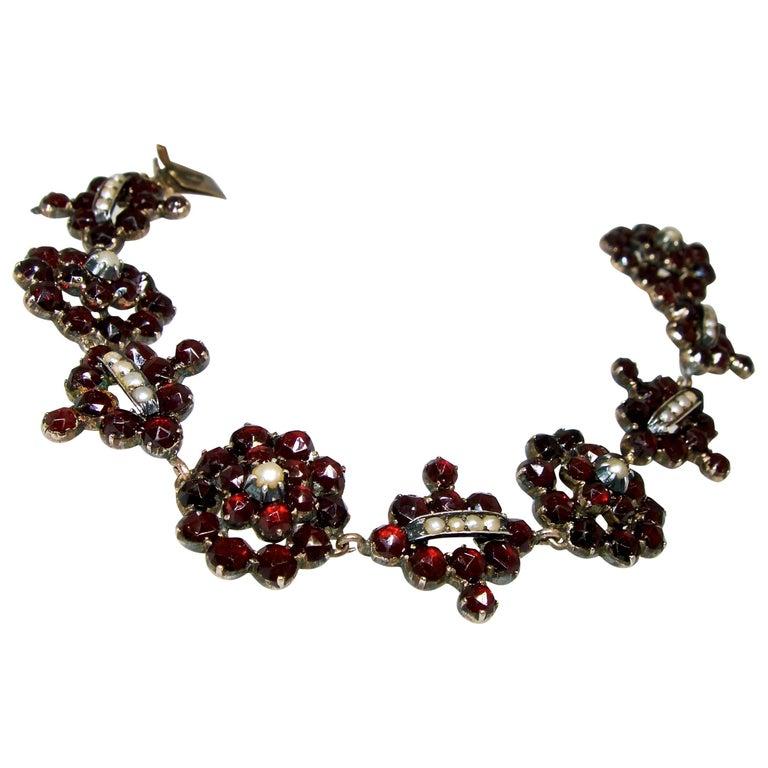 Victorian Garnet and Natural Pearl Bracelet, circa 1865