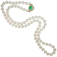 Cultured Pearl, Gold and Jade Necklace