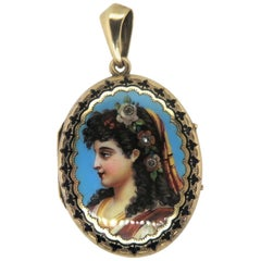 14 Karat Yellow Gold Victorian Old Mine Cut Diamond and Enamel Pendant