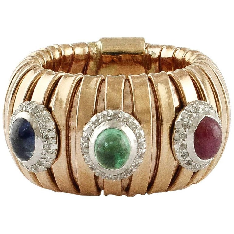 Diamonds Blue Sapphire Ruby Emerald Rose Gold Band Ring