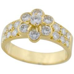 Van Cleef & Arpels Fleurette Madre 18 Karat Yellow Gold Diamond Ring