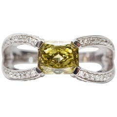 GIA Certified 1.14 Carat Brown - Green Yellow Diamond 18 KT Gold Engagement Ring